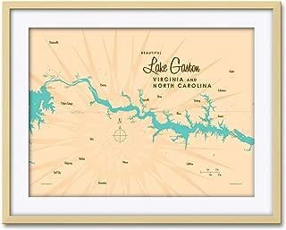 Lake Gaston VA North Carolina Vintage-Style Map Professionally Framed & Matted Giclee Travel Art Print by Lakebound Print Size: 18