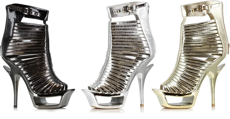 ELLIE 604-SAMANTHA Women 6  Stiletto Cut Out Heel Open Toe Metallic Sandal Boot