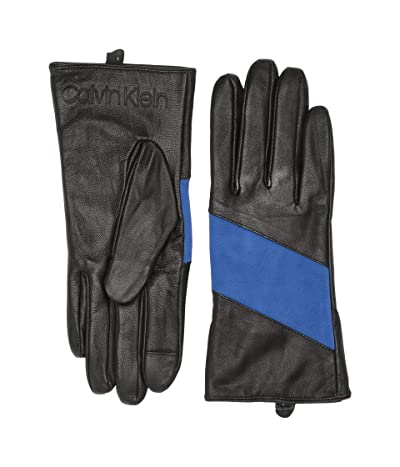 Calvin Klein Spliced Color Block Leather Touch Gloves (Montana Sky) Over-Mits Gloves