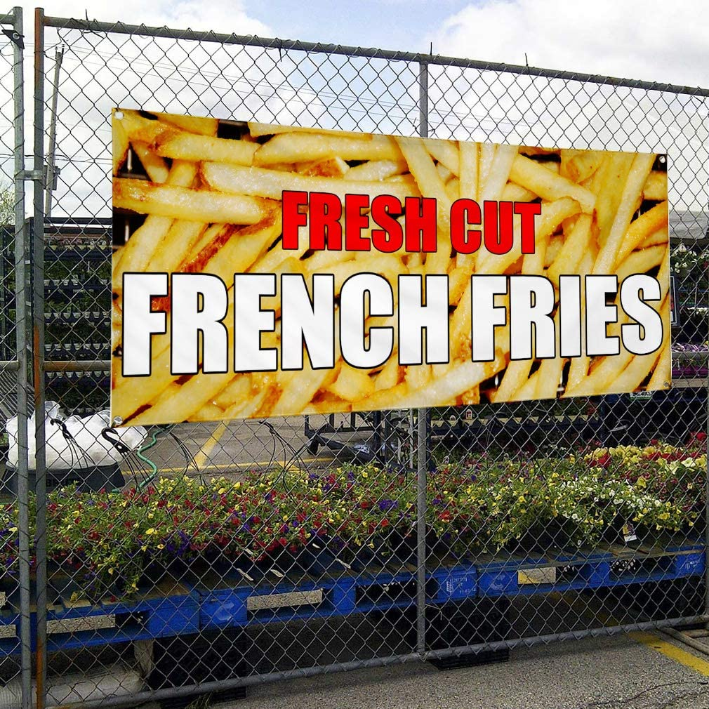 Vinyl Banner Multiple Sizes Fresh Cut French Fries CAF Restaurant Bar Business Outdoor Weatherproof Industrial Yard Signs Yellow 10 Grommets 60x144Inches