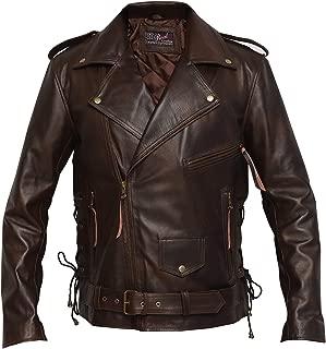 Brando Distressed Brown Retro Vintage Cowhide Leather Jacket