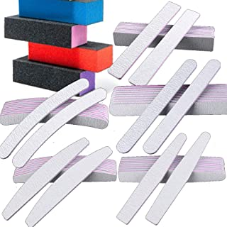 Precision Nail File Buff Kit VBA Professional 14 Piece Salon Grade 80/80 Zebra Acrylic Gel Nail Care Manicure Pedicure Set