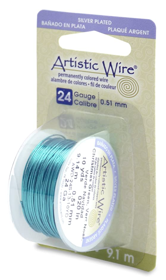 Beadalon Artistic Wire 24-Gauge Silver Plated Christmas Green Wire, 10-Yards