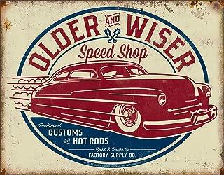Desperate Enterprises Older & Wiser Speed Shop - 50's Rod Tin Sign, 16
