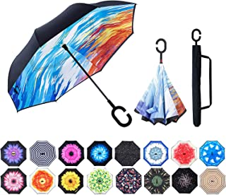 Inverted Umbrella,Double Layer Reverse Windproof Teflon Repellent Umbrella for Car and Outdoor Use, UPF 50+ Big Stick Umbrella with C-Shaped Handle and Carrying Bag, Ice and Fire