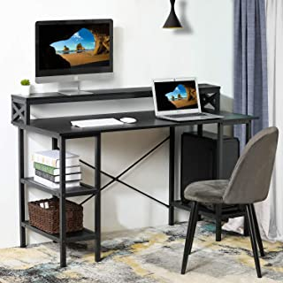 Sedeta Computer Desk with Storage Shelves, 55 inch Large Modern Office Desk Computer Table, Studying Writing Desk Workstation with Built-in Hutch for Home Office, Black