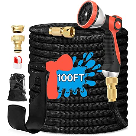Expandable Garden Hose, RHM 100FT Flexible Garden Hose Pipes with 10 Function Spray Gun & Solid Brass Quick Fittings for Yard Watering Washing, Extra Strength Fabric+Durable 3 Layer Latex, Leak-Proof