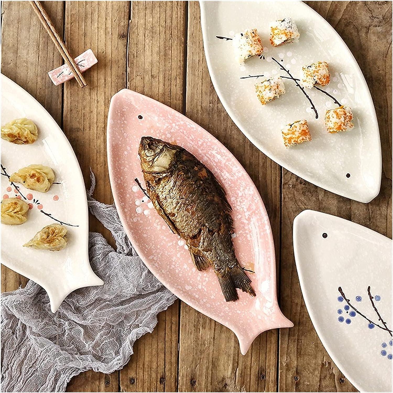 Super-cheap 35% OFF Dinner Plates Set Handpainting Fish Shape Plate Snowflak Ceramic