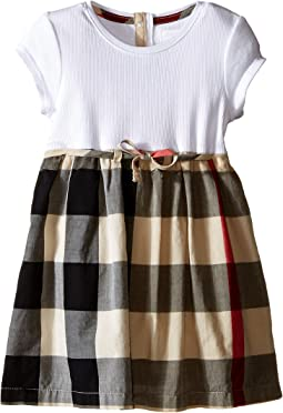 Burberry Kids - Rib Jersey & Woven Mix Dress (Infant/Toddler)