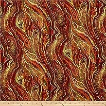 Timeless Treasures 0330564 Comfort & Joy Metallic Swirl Harvest Fabric by the Yard