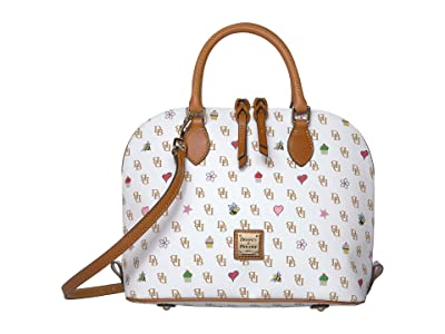 Dooney & Bourke Gretta Novelty Zip Zip Satchel (White/Natural Trim) Handbags