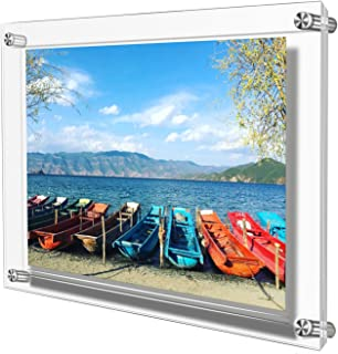 AMEITECH Acrylic Floating Picture Frame, Double Panel Clear Wall Mount Picture Frames Holds 12.5 x 9 inch Pictures (Full Frame is 11x14 inch)