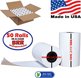 2 1/4 x 70 Thermal Paper (50 Rolls) Large Rolls for Clover Flex, Verifone VX520 Ingenico ICT220 ICT250 First Data FD400 Nurit 8000 8020 STP103 BPA Free Made in USA from BuyRegisterRolls