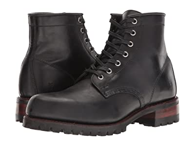 Frye Addison Lug Lace-Up (Black Smooth Pull Up) Men