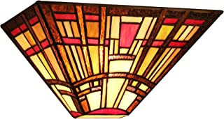 Chloe Lighting CH33292MS12-WS1 Hopkins, Tiffany-Style Mission 1-Light Wall Sconce, 12-Inch Wide, Multi-Colored