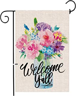 Hexagram Spring Garden Flag,Welcome Y'All Yard Small Burlap Garden Flag Double Sided,Mason Jars Flowers, Spring and Summer Welcome Outdoor Decor Sign,Garde Flags 12x18 Prime