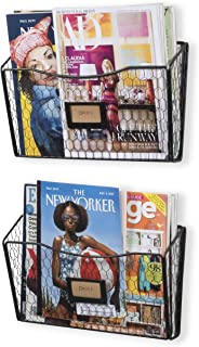 Wall35 Felic Hanging File Holder - Wall Mounted Metal Chicken Wire Magazine Rack - Office Folder Organizer with Name Tag Slot in Black (2)