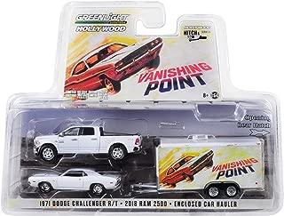 2018 Dodge Ram 2500 Pickup Truck & 1970 Dodge Challenger R/T & Enclosed Car Hauler Vanishing Point (1971) Movie 1/64 Diecast Models by Greenlight 31070 B