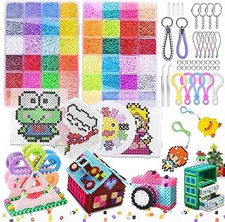 ETEPON28000 Perles à Repasser, 48 Couleurs 2.6mm avec 4 Plaques pour Loisirs Créatifs, Perles de Mode Kit pour DIY Enfant...