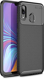 Case for Samsung Galaxy A30, Carbon Fiber Rugged Armor TPU Soft Ultra Slim Case Cover Compatible for Samsung Galaxy A30(Black)