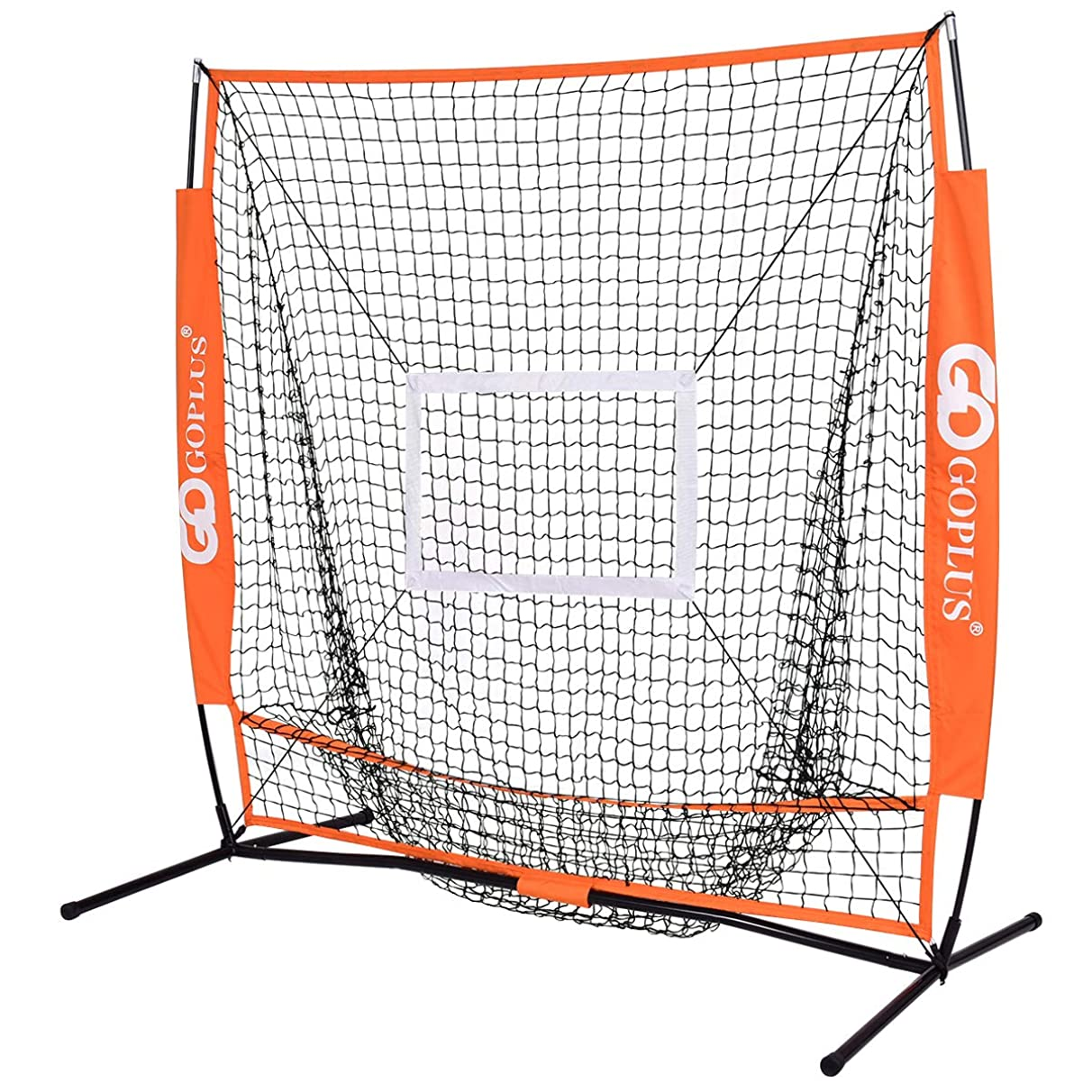GYMAX Practice Net, 5'×5' Portable Baseball & Softball Hitting with Bow Frame and Carry Bag, for Pitching, Batting, Fielding