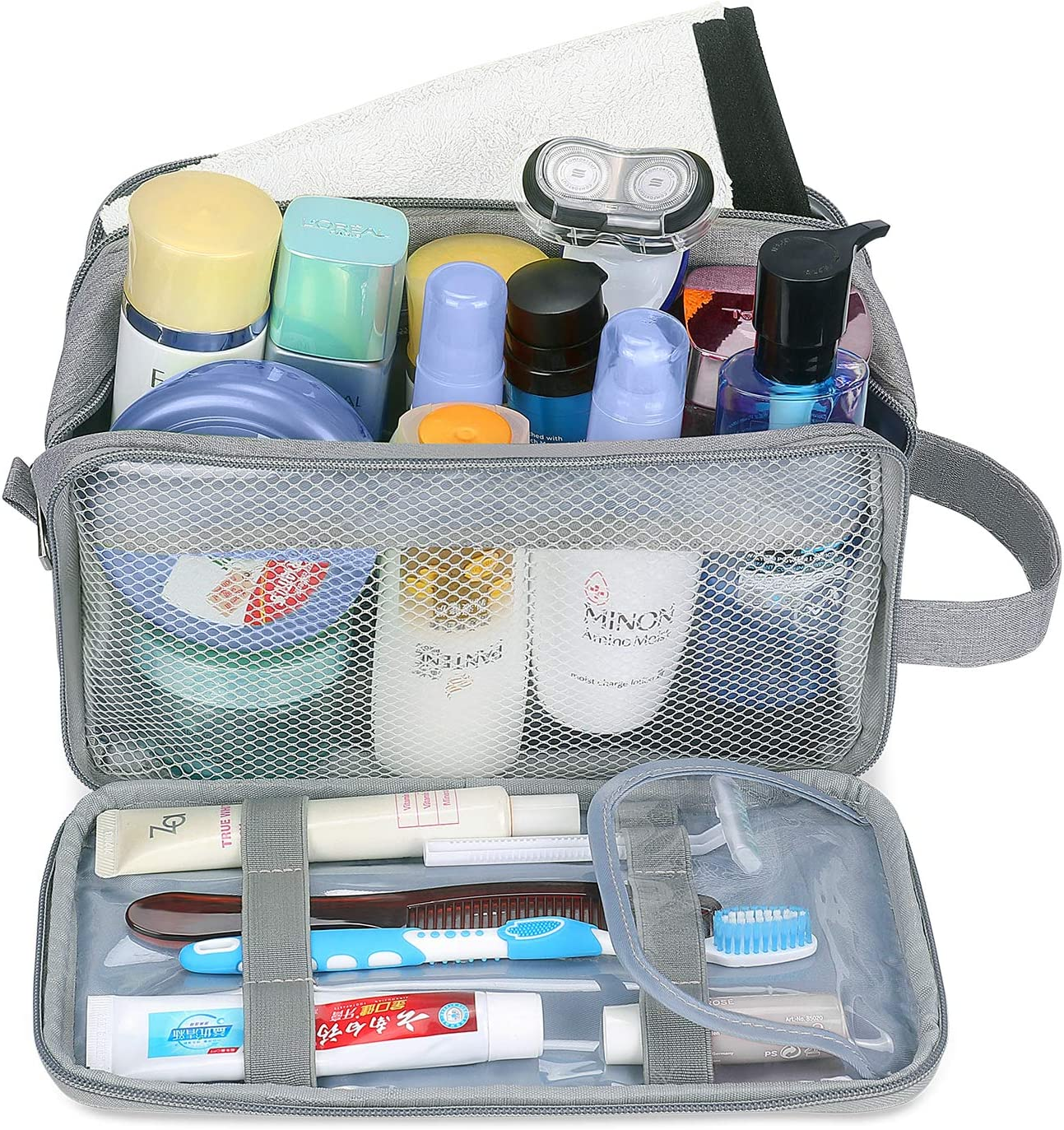 Neceseres para Maquillaje Organizador de Bolso Cosm/ético para Hombres Simboom Impermeable Bolsa de Lavado Gris Neceser de Viaje Mujeres