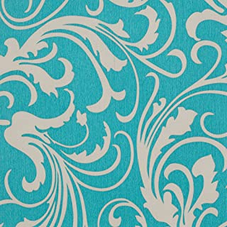 Romosa Wallcoverings DY259 Adore Splashy Corsage Floral Wallpaper, Turquoise Green/Gray