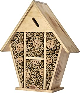 Homestead Essentials Large Native Leafcutter Bee and Mason Bee House | Bamboo Hollow Tubes and Flame-Treated Wood | Wall o...