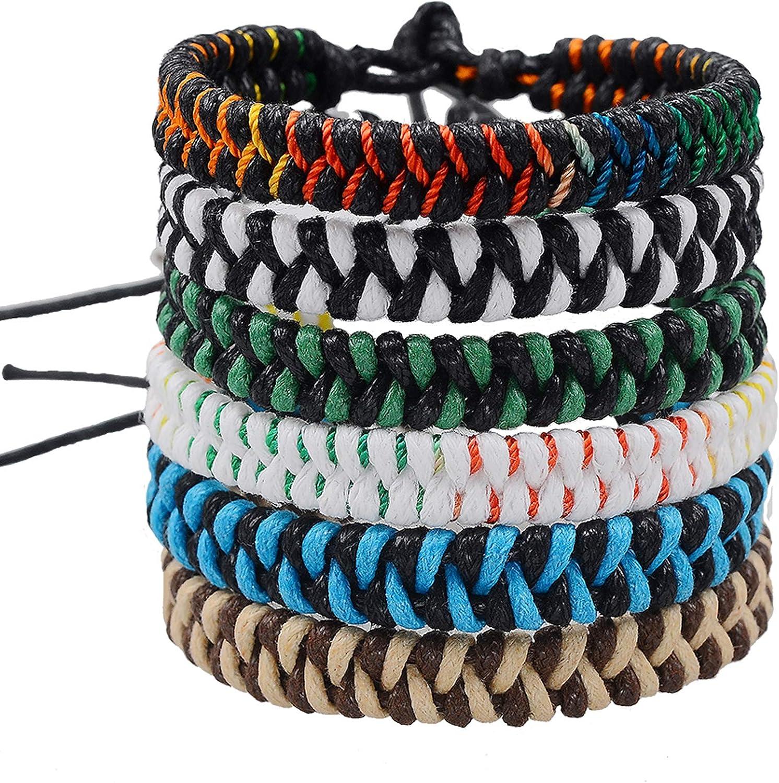 Jeka Handmade Braided Woven Friendship Bracelets Fashion 6 Pcs Bulk Men Women's Cool Wrist Bracelet for Boys Gift