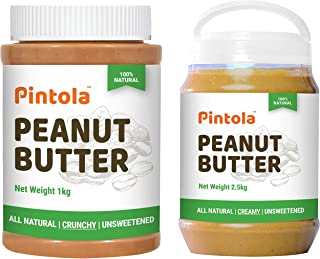 Pintola All Natural Peanut Butter (Crunchy) (1 kg) (Unsweetened, Non-GMO, Gluten Free, Vegan) + Pintola All Natural Peanut...