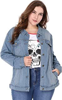 677ac7c6c256f uxcell Women s Plus Size Button Down Washed Denim Jacket with Chest Flap  Pocket