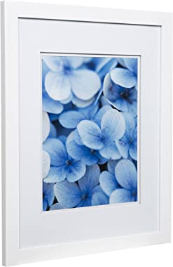 "Snap 16x20 Flat Double Mat for 11x14 Photo, Wall Mount Picture Frame, 11"" x 14"", White"