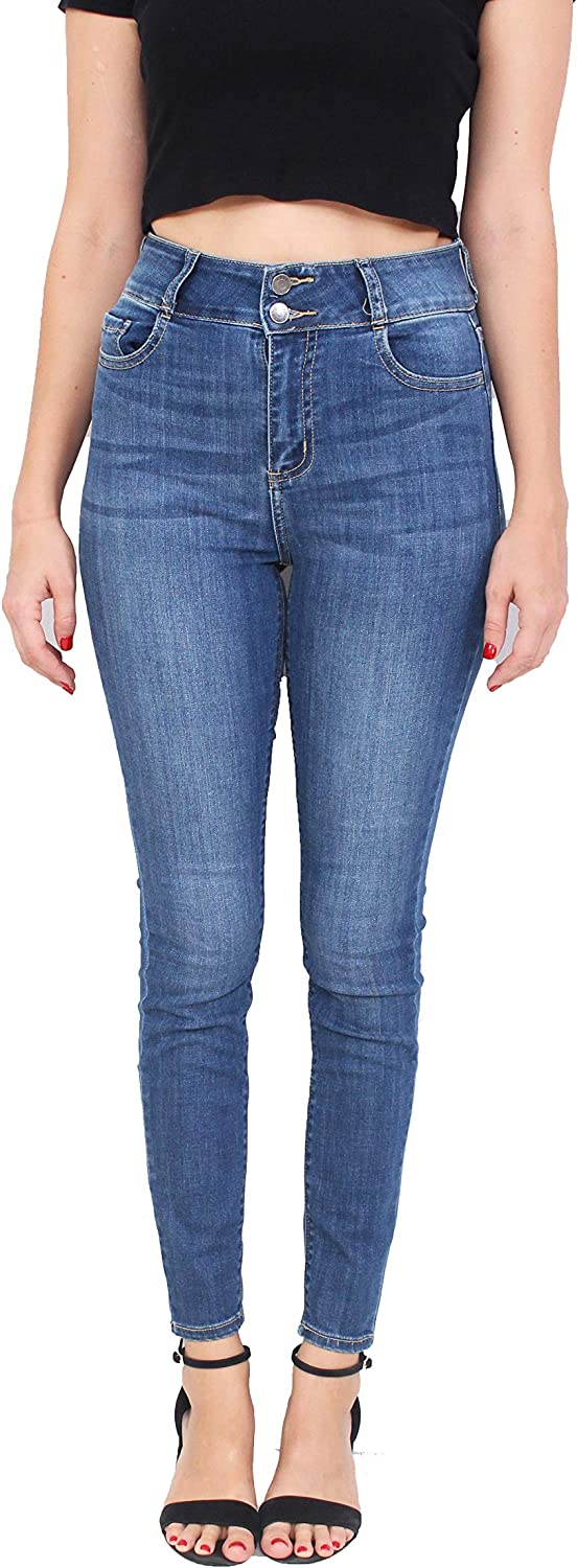 Cello Jeans Women High Rise Skinny Jeans with 2 Front Button Waistband