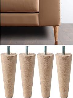IPEA Lot de 4 Pieds Coniques en Bois Brut pour Meubles et canapés – Lot de 4 Pieds pour armoires de fauteuils – Différente...