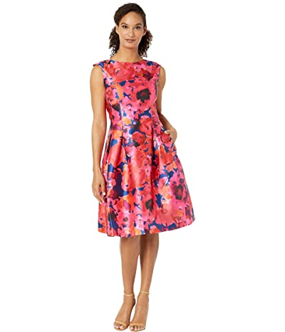 Tahari by ASL Printed Mikado Sleeveless Party Dress (Navy/Fuchsia/Coral) Women