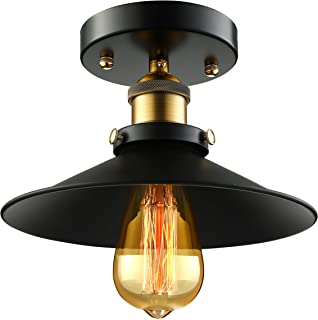 BAYCHEER HL410348 Vintage Edison Industrial Loft Black Metal Shade Cone Mini Semi Flush Mount Ceiling Light Lamp with 1 Light