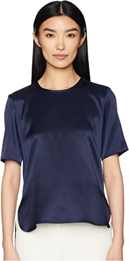 Silk Charmeuse Short Sleeve T-Shirt w/ Cross-Back
