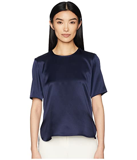 Adam Lippes Silk Charmeuse Short Sleeve T-Shirt w/ Cross-Back