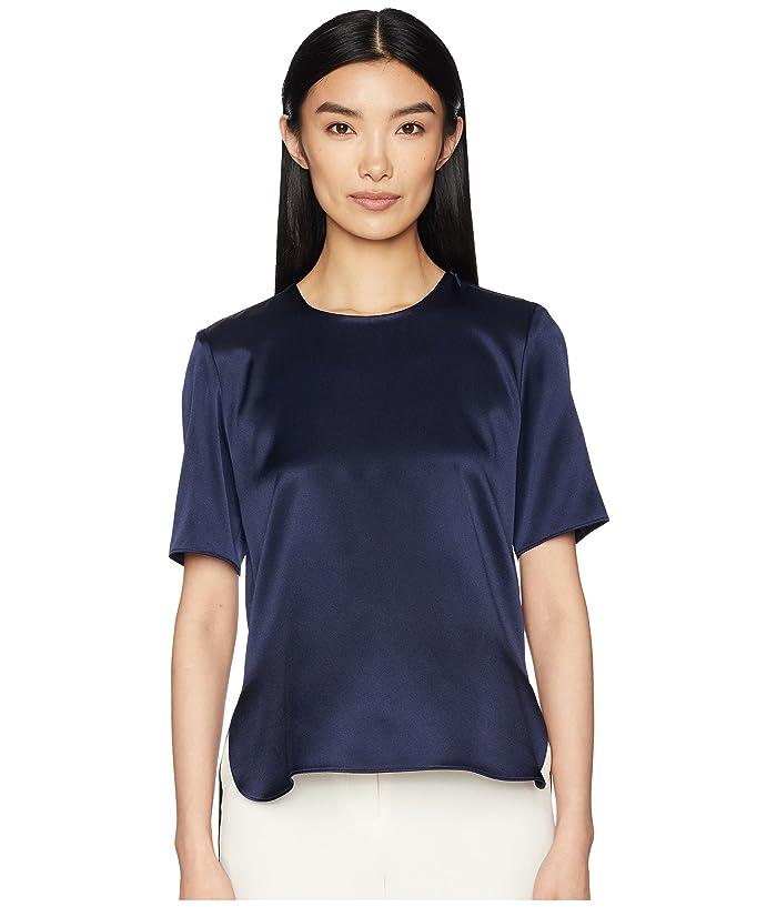 Adam Lippes Silk Charmeuse Short Sleeve T-Shirt w/ Cross-Back (Navy) Women's T Shirt