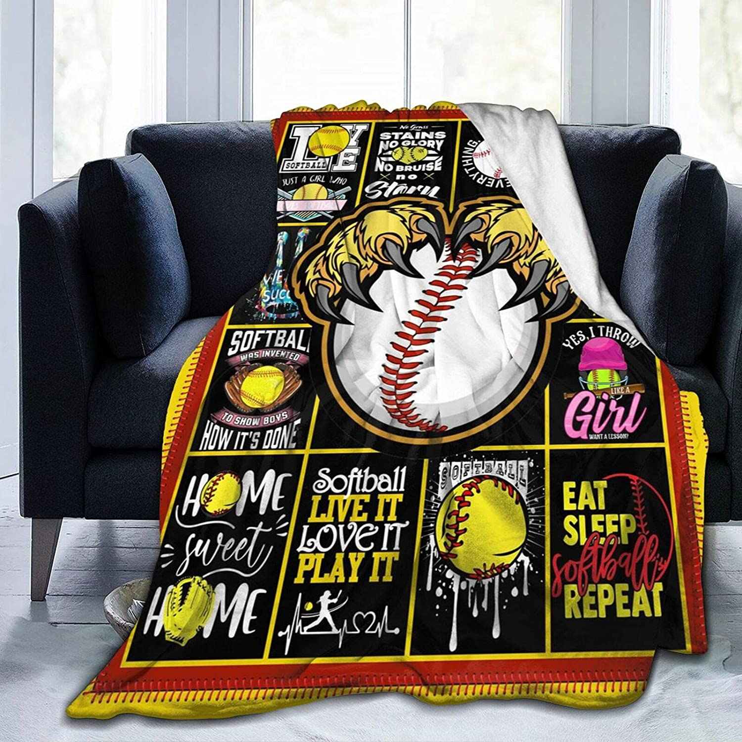 Socira Flannel Throw Blanket Softball Animer and price revision in Blac New Orleans Mall Yellow Lover Print