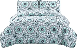HollyHOME 2 Piece Printed Quilt Coverlet Set Twin Size 68x86 with 1 Sham Lightweight Design for Spring and Summer Microfiber Bedspread Sets, Blue Floral Pattern
