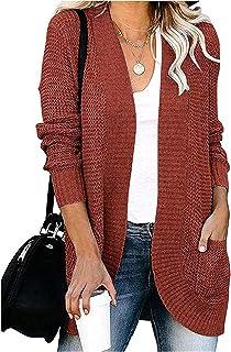GFBVC Cárdigan De Mujer Europeo de otoño/Invierno del suéter de Las Mujeres y Americana sólida de Color con Bolsillos Loos...
