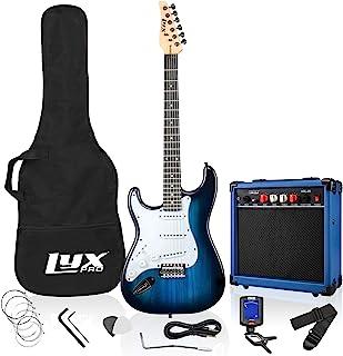 LyxPro دست چپ 39 اینچ گیتار الکتریک و کیت استارتر برای Lefty Full Size Beginner's Guitar ، Amp ، شش سیم ، دو انتخاب ، بند شانه ، کلیپ دیجیتال روی تیونر ، کابل گیتار و قاب نرم - آبی