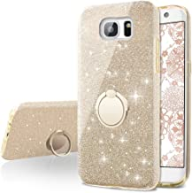 Galaxy S6 Edge Case,Silverback Girls Bling Glitter Sparkle Cute Phone Case with 360 Rotating Ring Stand, Soft TPU Outer Cover + Hard PC Inner Shell Skin for Samsung Galaxy S6 Edge -Gold