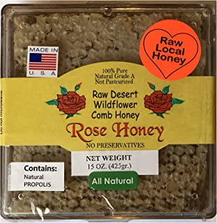 California Raw Desert Wildflower Comb Rose Honey w PROPOLIS Honeycomb Square Box 12-15 Ounces Pure 100% Natural Gift Wrapped