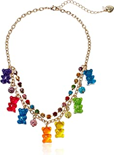 Betsey Johnson Bear Charm Frontal Necklace