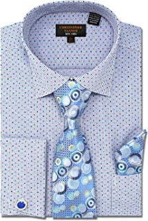 Men`s Regular Fit Dress Shirts with Tie Hanky Cufflinks Combo French Cuffs Check Dot Pattern