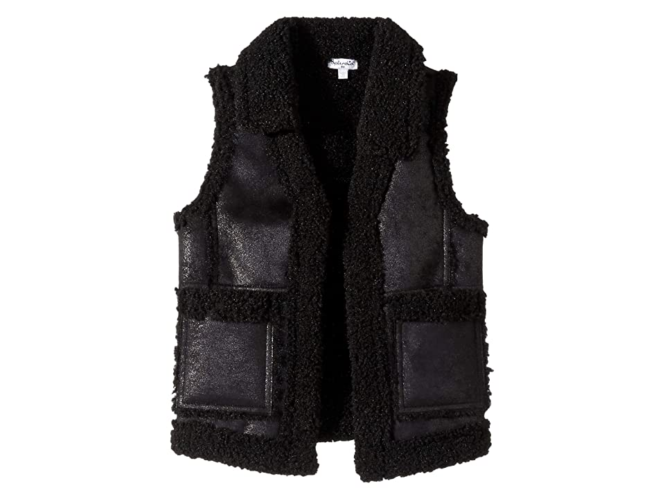Splendid Littles Pleather Sherpa Vest (Little Kids) (Black) Girl
