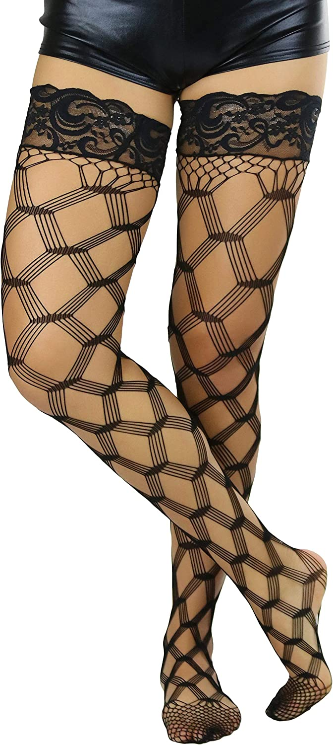 ToBeInStyle Women's Multi Fence Net Lace Trim Stockings w/Silicon Grip Lining