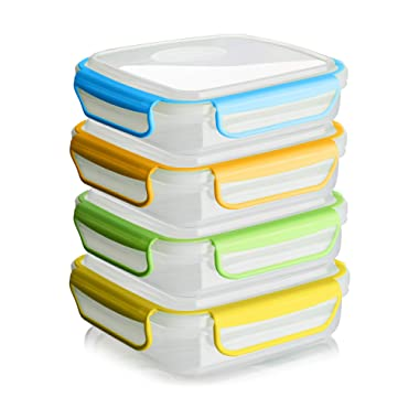 Snap Fresh - 4 Pack of Sandwich Containers (450 ml) - Reusable, BPA Free Plastic, Snap & Lock Shut Lids and Silicone Seal. Great for Fruit, Salad, Lunch Box Snacks and Food Storage; Kids and Adults